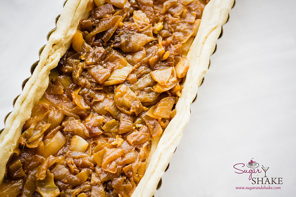 Caramelized Pickled Maui Onion Tart. (Before baking.) © 2013 Sugar + Shake