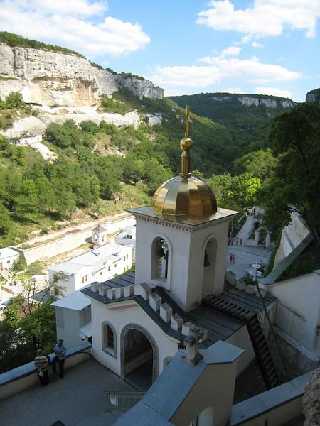Bakchasarai, Crimea - Orthodox cliff-dweller church and monastery -- looking toward ancient Jewish settlement opposite