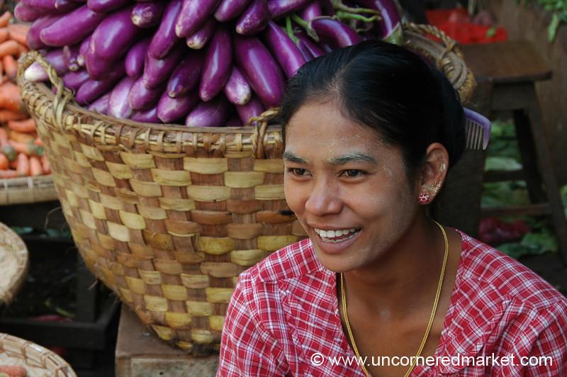 Aubergines and Smiling Burmese Woman - Mandalay, Burma