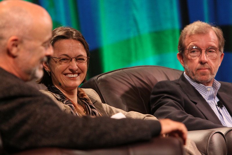 """""""FiRe CTO Design Challenge"""": (L-R) Author, physicist, and host David Brin; Sophie Vandebroek, CTO, Xerox, and President, Xerox Innovation Group; and Eric Openshaw, Vice Chair and U.S. Technology Leader, Deloitte"""