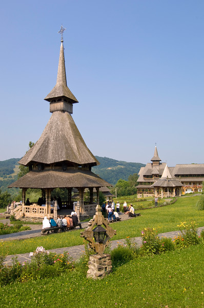 Worshippers dressed in traditional Maramures dress attend open a