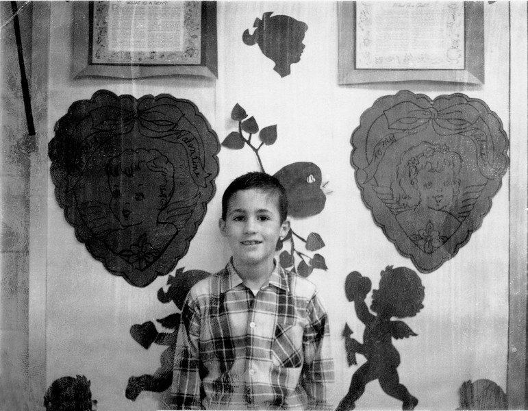 Brian at (I imagine) a school Valentine's day party