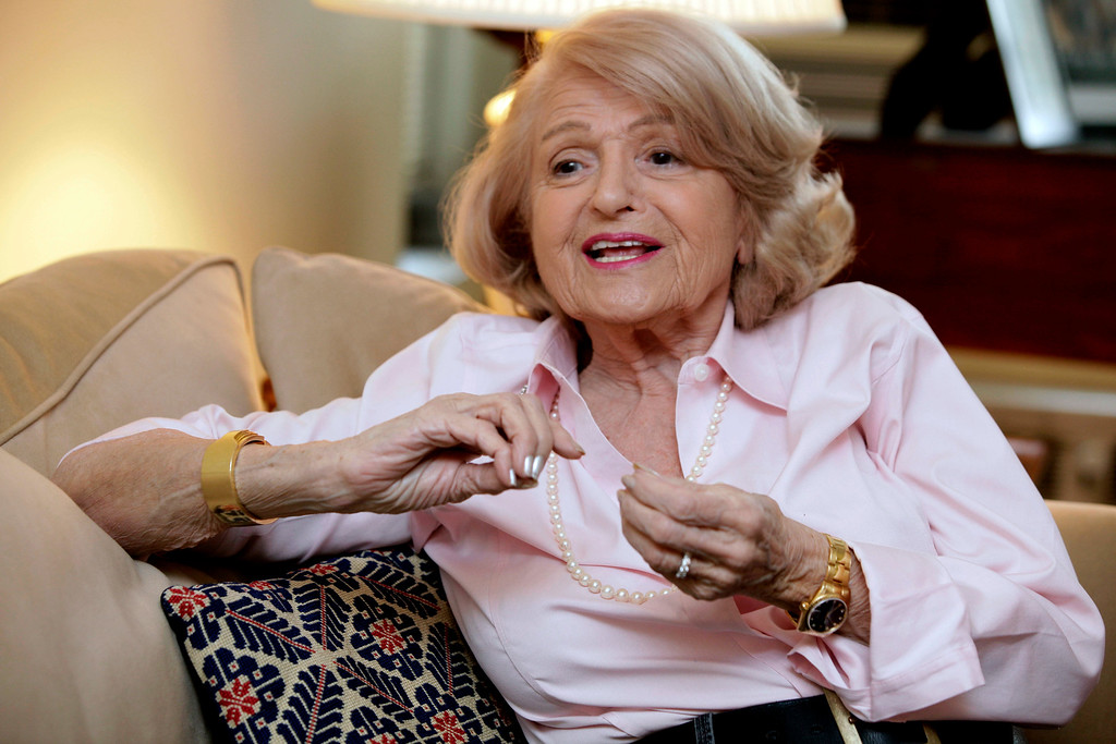 . FILE - In this Dec. 12, 2012 file photo, Edith Windsor speaks during an interview in her New York City apartment. Windsor, who brought a Supreme Court case that struck down parts of a federal law that banned same-sex marriage, died Tuesday, Sept. 12, 2017, in New York, according to her attorney. She was 88.(AP Photo/Richard Drew, File)