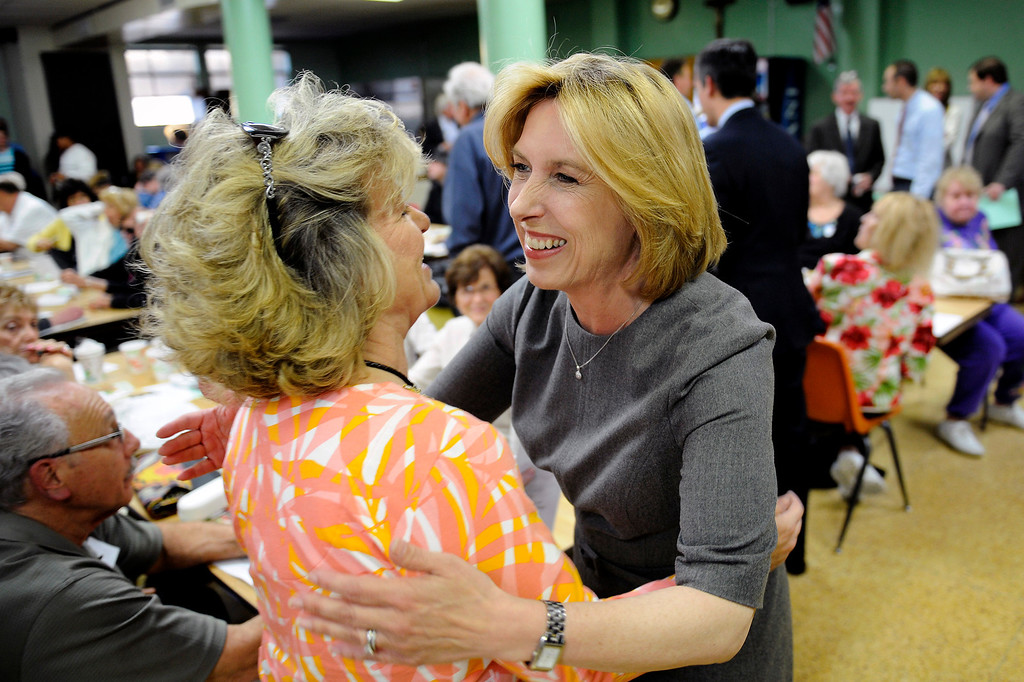 . Mayoral candidate Wendy Greuel greets Ann O\'Connor before her debate with Eric Garcetti at Notre Dame High School, Wednesday, April 17, 2013. (Michael Owen Baker/Staff Photographer)