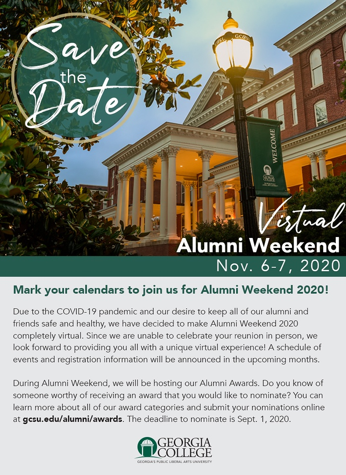 Plan now for virtual Alumni Weekend.