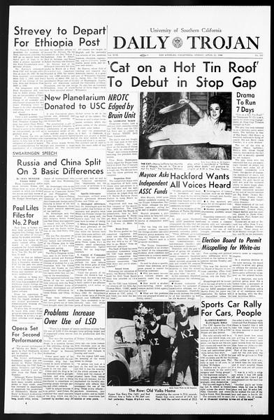 Daily Trojan, Vol. 57, No. 107, April 22, 1966