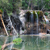 Water from Dead Horse Creek cascades into Hanging Lake. The lake is carved into the sheer walls of Glenwood Canyon - Glendwood Springs, CO