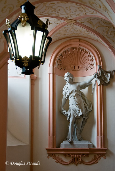 Statue by a window at Melk Abbey
