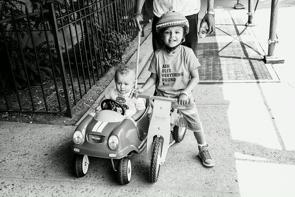 Cash and Grey on their bikes