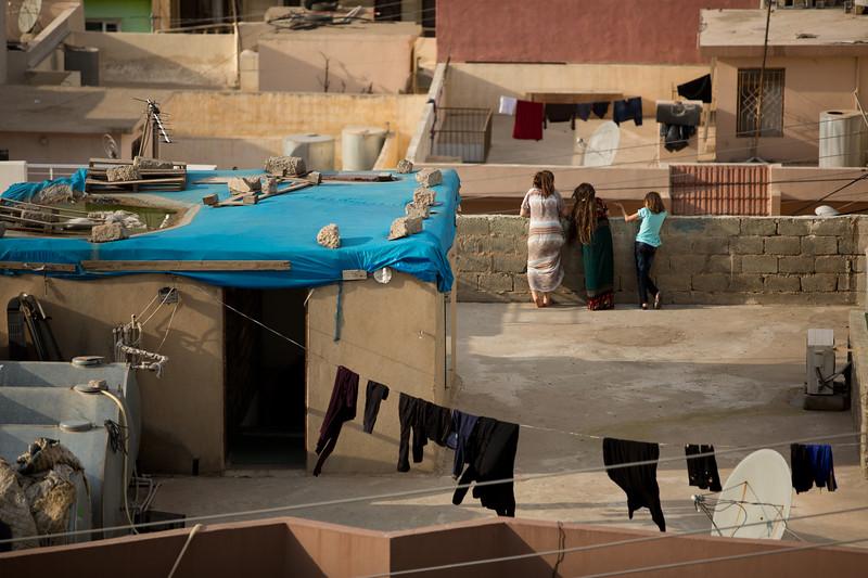 Children on a residiential rooftop in Duhok, Iraqi Kurdistan.