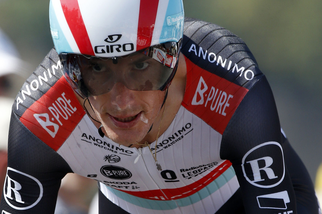 . Luxembourg\'s Andy Schleck is about to cross the finish line at the end of the 33 km individual time-trial and eleventh stage of the 100th edition of the Tour de France cycling race on July 10, 2013 between Avranches and Mont-Saint-Michel, northwestern France.   PASCAL GUYOT/AFP/Getty Images