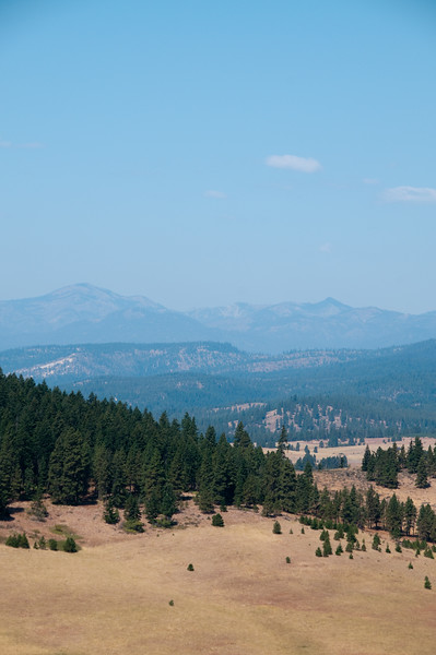 It's a clear day, but the mountains in the distance are still a bit hazy.