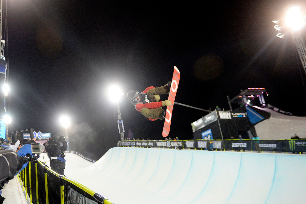. Christian Haller rides during the men\'s snowboard halfpipe qualifier. X Games Aspen at Buttermilk on Thursday, January 23, 2014. (Photo by AAron Ontiveroz/The Denver Post)