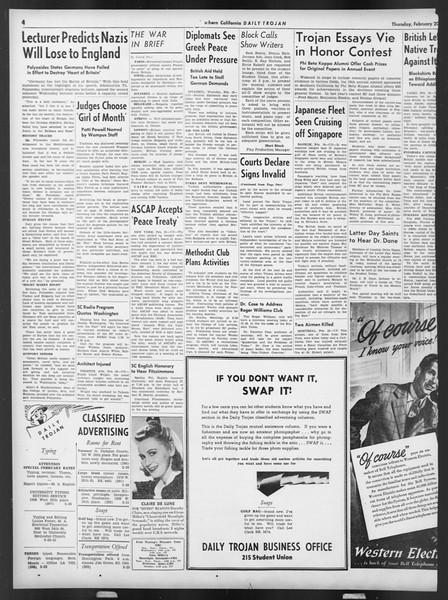 Daily Trojan, Vol. 32, No. 85, February 20, 1941