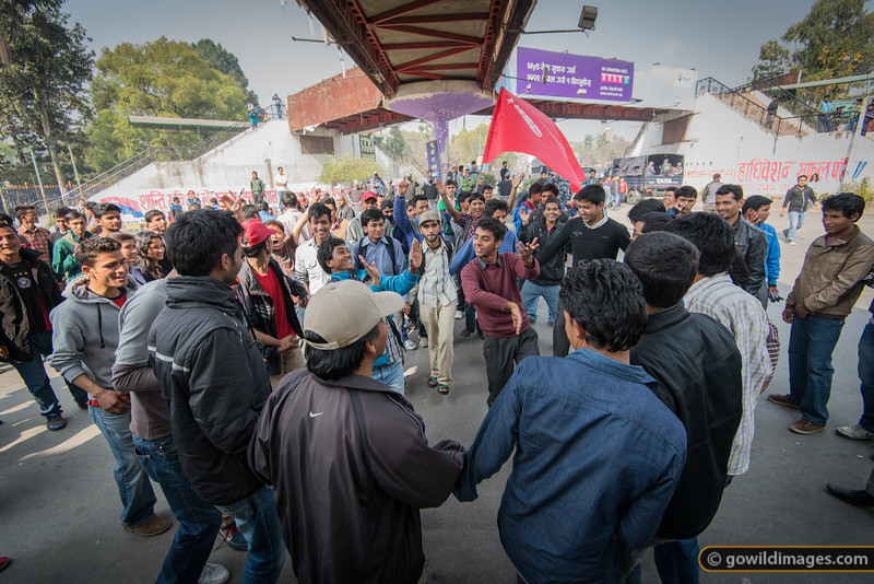 A protest quickly turns into a dance off... only in Nepal! Two days of strikes means no traffic on the road and a relaxed atmosphere.
