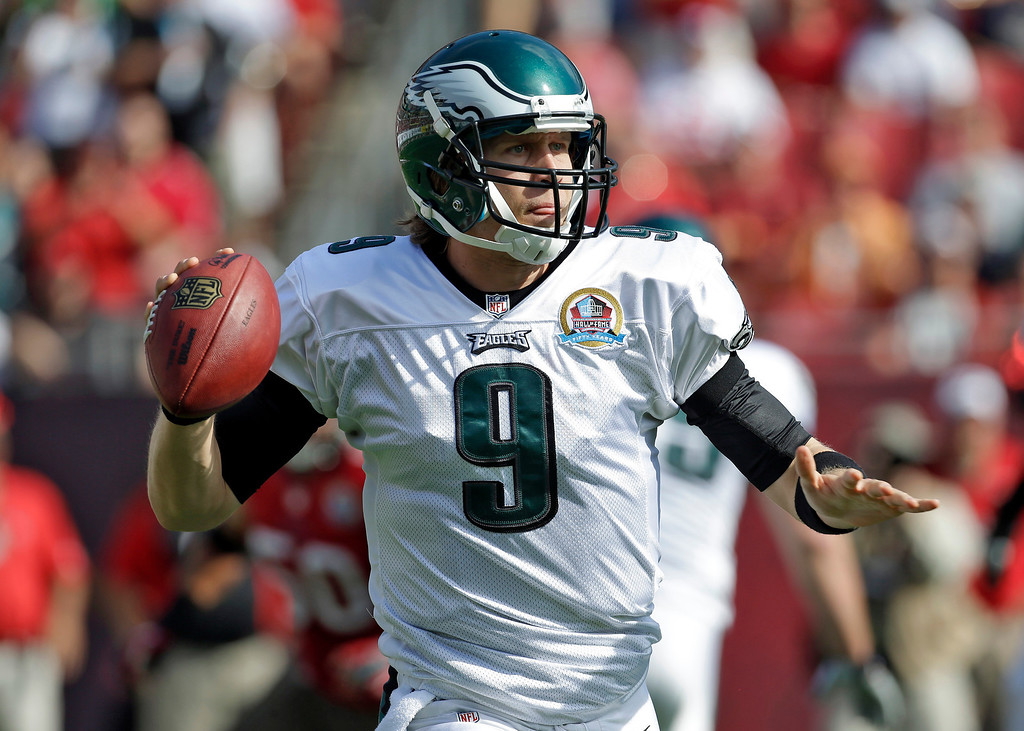 . Philadelphia Eagles quarterback Nick Foles (9) throws a pass during the first quarter of an NFL football game against the Tampa Bay Buccaneers Sunday, Dec. 9, 2012, in Tampa, Fla. (AP Photo/Chris O\'Meara)