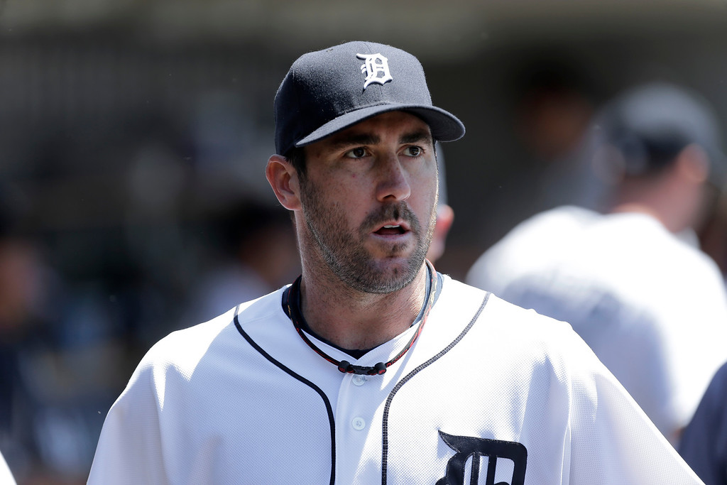 . Detroit Tigers pitcher Justin Verlander walks the dugout before the first inning of a baseball game against the Toronto Blue Jays in Detroit, Thursday, June 5, 2014. (AP Photo/Paul Sancya)