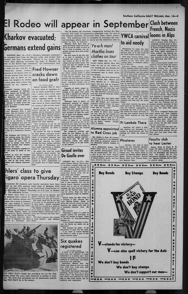 Daily Trojan, Vol. 34, No. 105, March 16, 1943