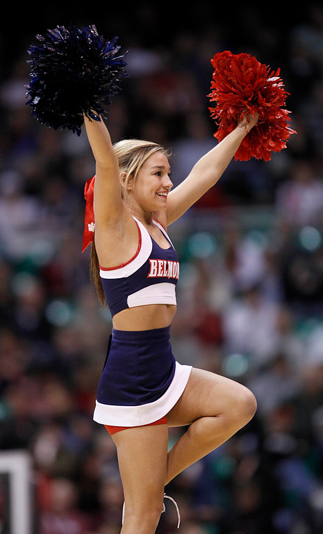 . A Belmont cheerleader performs in the second half during a second-round game in the NCAA college basketball tournament against Arizona in Salt Lake City, Thursday, March 21, 2013. Arizona won 81-64. (AP Photo/George Frey)