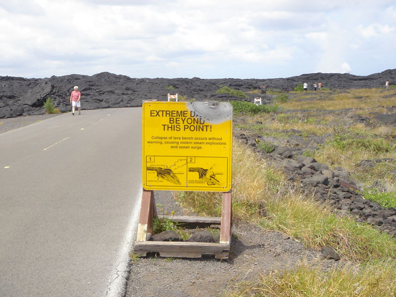 Damaged Sign On Lava Road - Volcanoes National Park, Hawaii