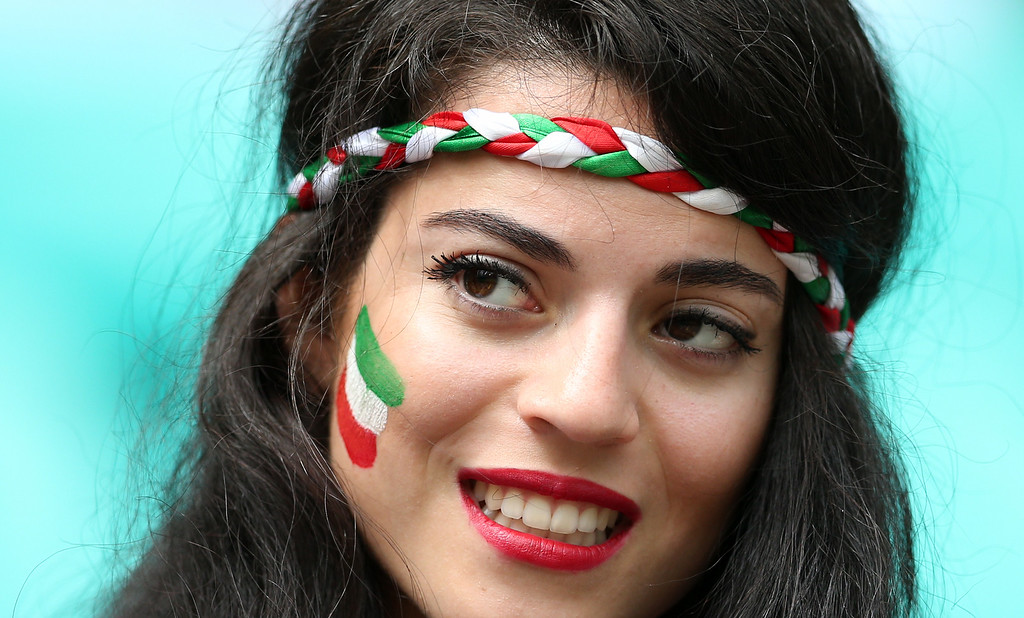 . A fan of Iran poses before a Group F football match between Bosnia-Hercegovina and Iran at the Fonte Nova Arena in Salvador during the 2014 FIFA World Cup on June 25, 2014. BEHROUZ MEHRI/AFP/Getty Images
