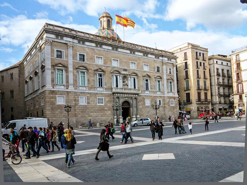 Barcelona, Placa de Sant Jaume, The Palau de la Generalitat de Catalunya.