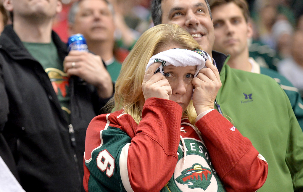 . It was tense times in the stands as the third period draws to a close with a 1-1 score as the Minnesota Wild head into overtime against the Chicago Blackhawks in Game 6. (Pioneer Press: Ben Garvin)