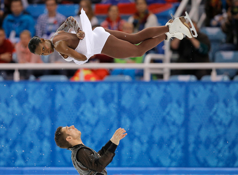 . Vanessa James and Morgan Cipres of France compete in the pairs free skate figure skating competition at the Iceberg Skating Palace during the 2014 Winter Olympics, Wednesday, Feb. 12, 2014, in Sochi, Russia. (AP Photo/Vadim Ghirda)