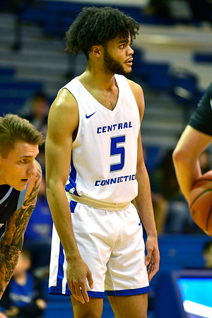 12/7/2019 Mike Orazzi | Staff CCSU's Xavier Wilson (5) during Saturday's mens basketball game with the University of Maine in New Britain.