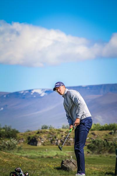 Jóhannes Guðmundsson, GR, við 9. flöt á Garðavelli.  Mynd/seth@golf.is Mynd/seth@golf.is