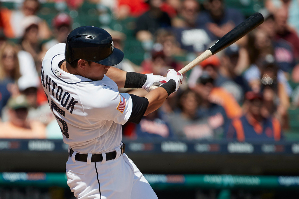 . Detroit Tigers Mikie Mahtook hits an RBI single against the Cleveland Indians during the seventh inning in the first baseball game of a doubleheader in Detroit, Saturday, July 1, 2017. (AP Photo/Rick Osentoski)
