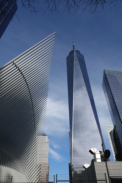 The Oculus and the Freedom Tower from Fulton Street, Manhattan.