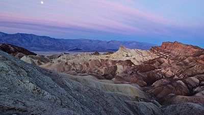 Moon over Zabriskie Point-Death Valley, CA