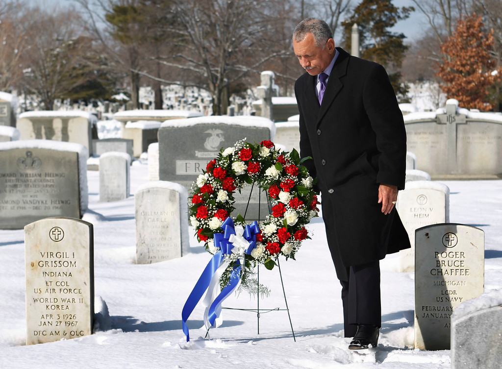 . National Aeronautics and Space Administration (NASA) Administrator Charles Bolden pauses after laying a wreath at the tomb of Apollo 1 astronauts Virgil Grissom and Roger Chaffee, Thursday, Jan. 27, 2011,  at Arlington National Cemetery in Arlington, Va., in commemoration of NASA\'s National Day of Remembrance. (AP Photo/Manuel Balce Ceneta)