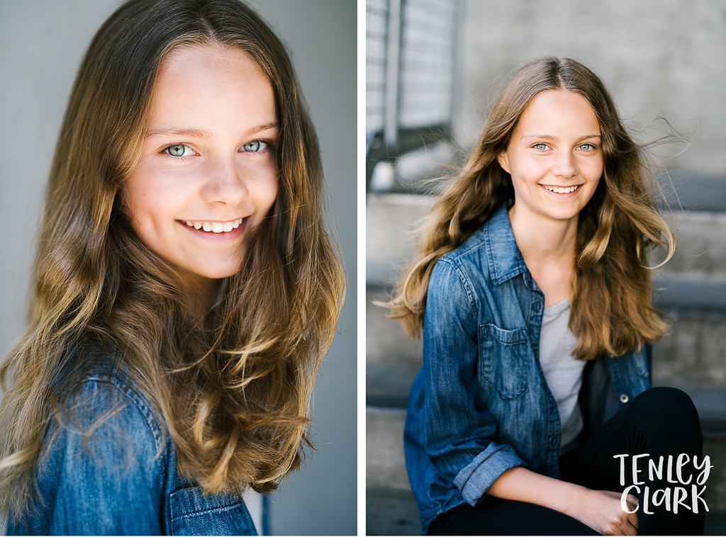 Bay Area teen JE kids model headshot portfolio session in Palo Alto by Tenley Clark Photography