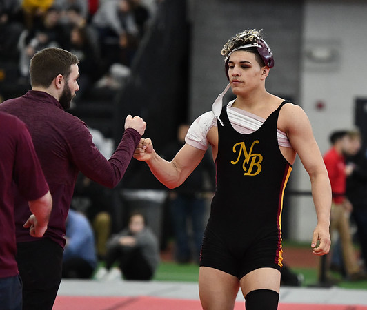 2/29/2020 Mike Orazzi | StaffrNew Britain Isaiah Medina after a match with Norwich Free Academy Mason Mcmahon during the CIAC 2020 State Open Wrestling Tournament at the Floyd Little Athletic Center in New Haven.