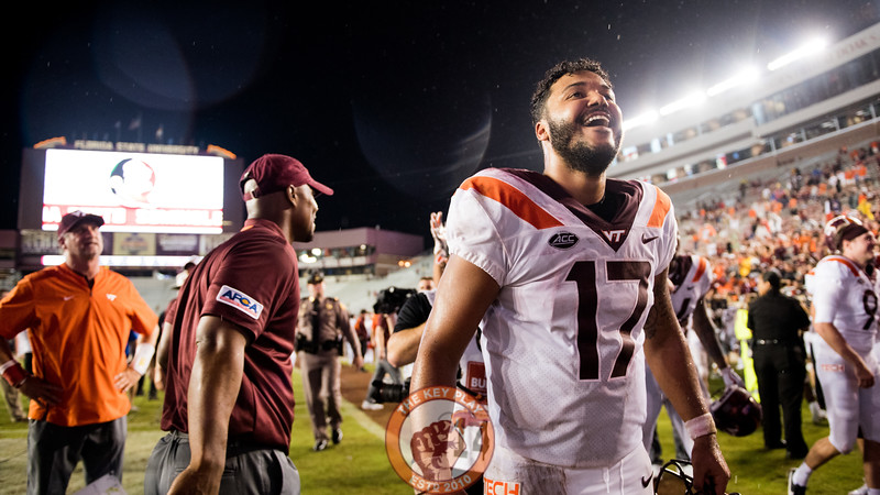 Josh Jackson smiles after the 24-3 victory over the Seminoles at Doak Campbell Stadium, Monday, Sept. 3, 2018. (Photo by Cory Hancock)
