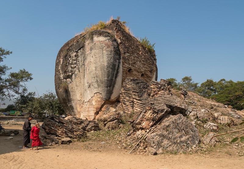 Incomplete chinthe (lion guardian) at Mingun Pagoda (Pahtodawgyi), Burma (Myanmar)