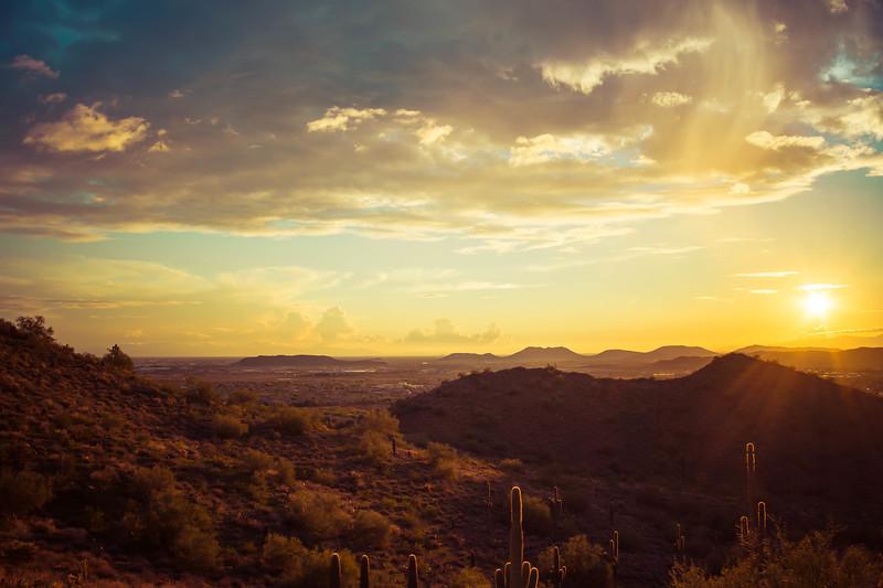 Desert Sunset Landscape with a Hint of Rain