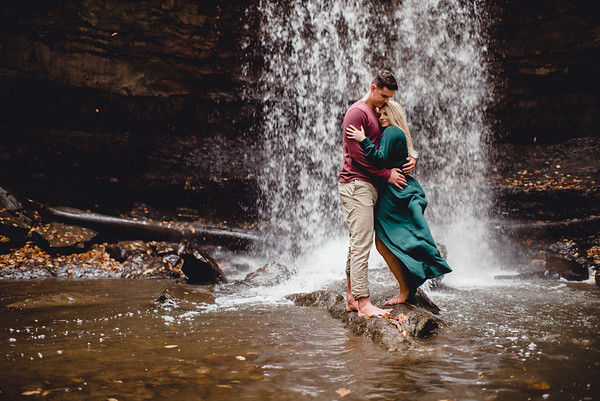 Meg + Tyler Ohiopyle Adventure Engagement