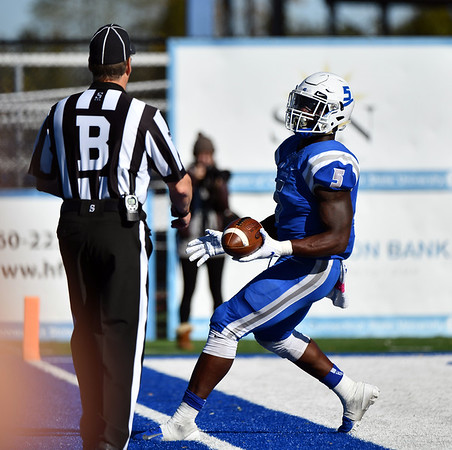 10/19/2019 Mike Orazzi | StaffrCentral Connecticut State University 's Danley Exilhomme (5) during Saturday's football game with Bryant in New Britain.