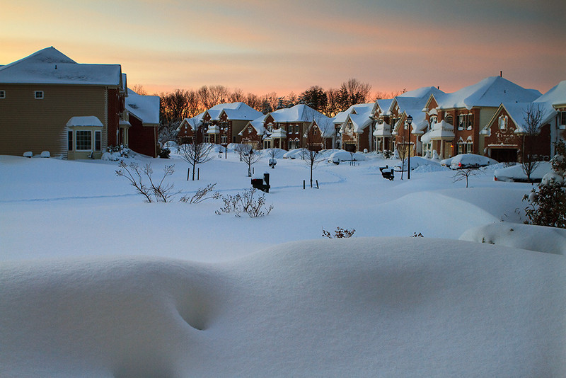 The quiet after the first blizzard. There's 24-30 inches of snow on the ground.