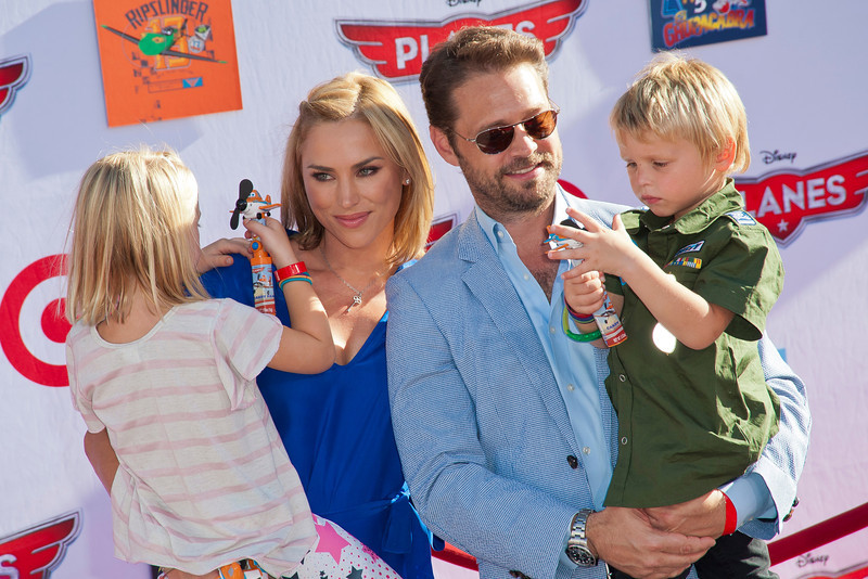 HOLLYWOOD, CA - AUGUST 05: Actor Jason Priestley, wife Naomi Lowde Priestley, children Ava Veronica Priestley and Dashiell Orson Priestley arrive at the Los Angeles premiere of 'Planes' at the El Capitan Theatre on Monday August 5, 2013 in Hollywood, California. (Photo by Tom Sorensen/Moovieboy Pictures)