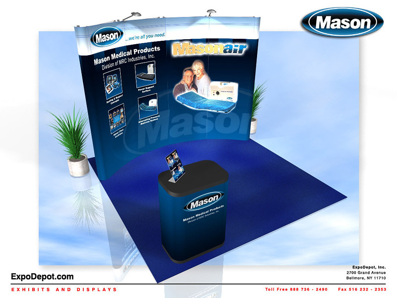 Mason Medical, 10' Curved Pop Up http://expodepot.com/pop-up-displays-c-166.html