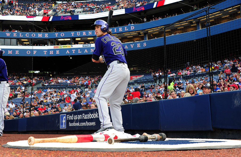 . ATLANTA, GA - JULY 31: Charlie Culberson #23 of the Colorado Rockies waits to hit against the Atlanta Braves at Turner Field on July 31, 2013 in Atlanta, Georgia. (Photo by Scott Cunningham/Getty Images)