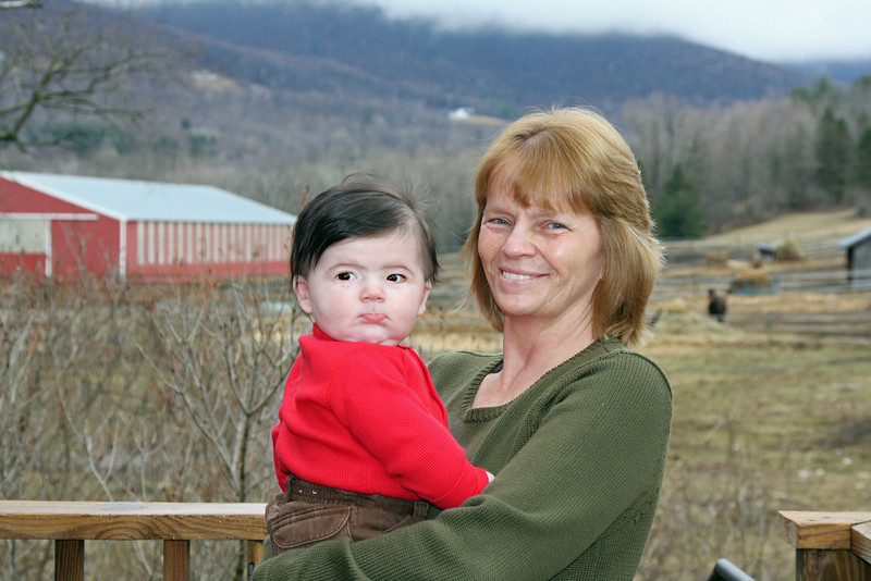 Checking out the barn and animals with Grandma, and teething on my upper lip again