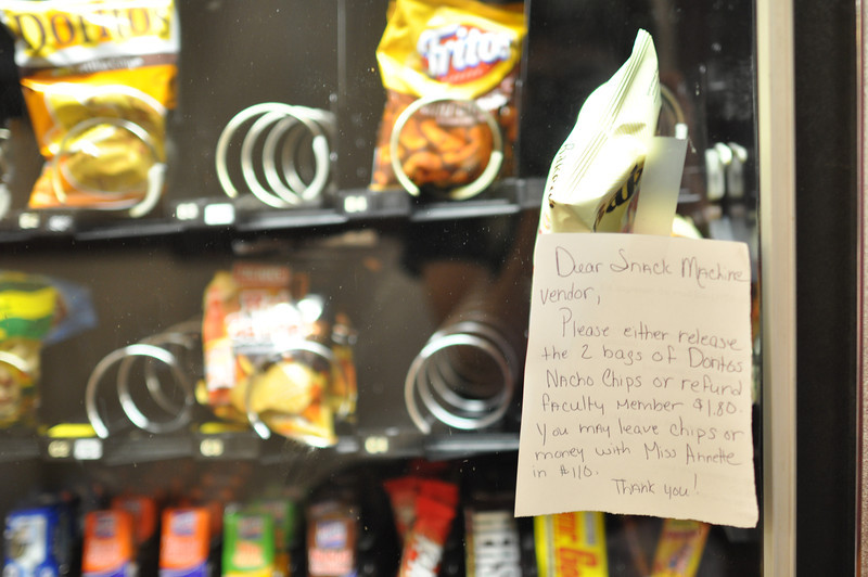 Frequent visitors to the Comm Studies Hall may need to guard their money from the snack machine. A note is left for vendor to return lost money of this machine on April 27, 2012.