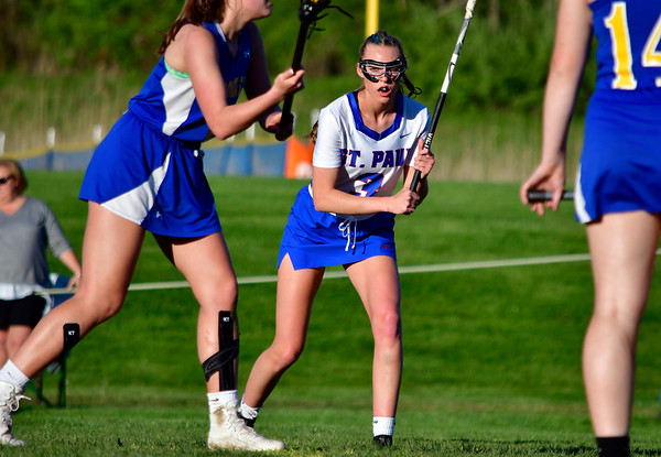 5/8/2019 Mike Orazzi | Staff St. Paul Catholic High School's Addison Davis (3) during Wednesday's girls lacrosse with Housatonic Regional in Bristol.