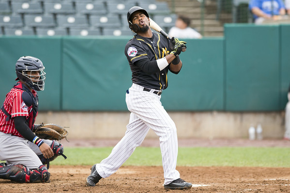 The New Britain Bees vs the Southern Maryland Blue Crabs in a noon start double header on Thursday July 18, 2019. Randomizes Moreno (4) reacts after striking out. Wesley Bunnell | Staff