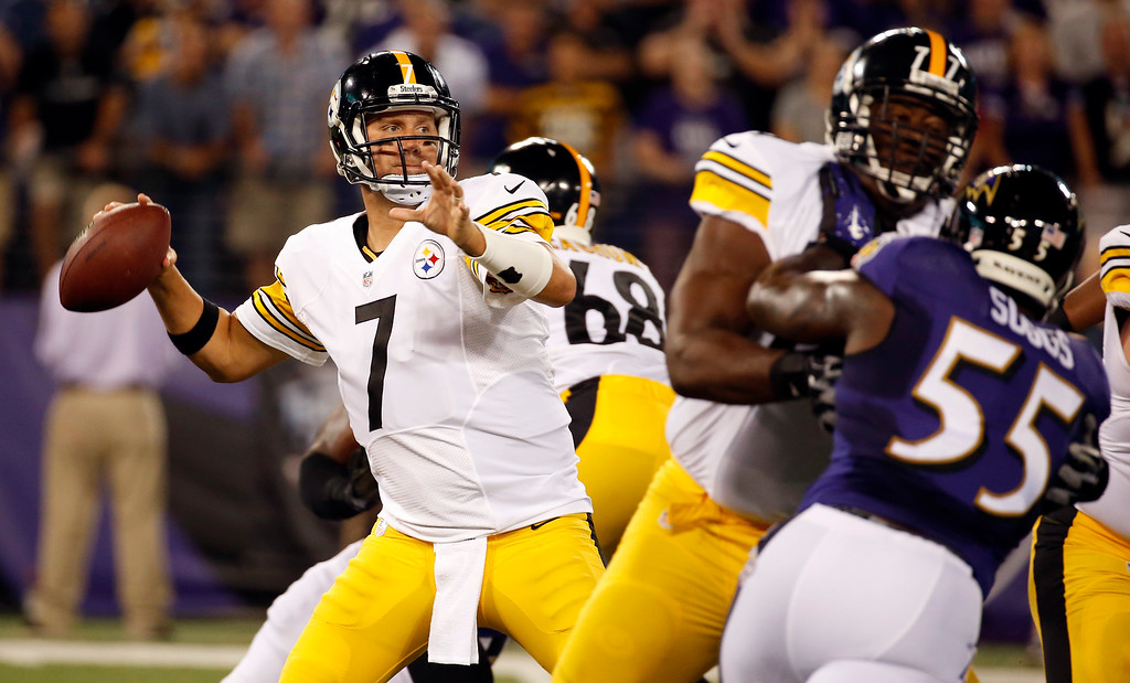 . Pittsburgh Steelers quarterback Ben Roethlisberger (7) looks to pass during the first half of an NFL football game against the Baltimore Ravens on Thursday, Sept. 11, 2014, in Baltimore. (AP Photo/Alex Brandon)